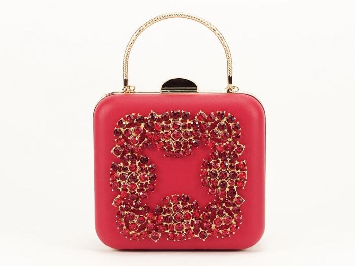 Geanta clutch rosu elegant Ingrid 0