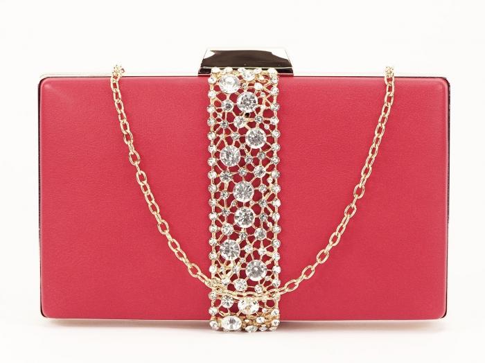 Geanta clutch rosu decorat cu pietricele Olympia 4