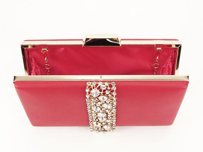 Geanta clutch rosu decorat cu pietricele Olympia 5