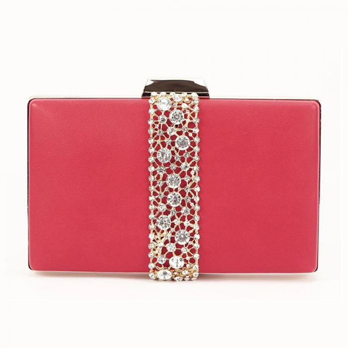 Geanta clutch rosu decorat cu pietricele Olympia 2
