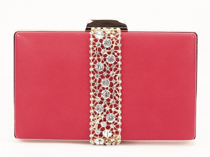 Geanta clutch rosu decorat cu pietricele Olympia 1