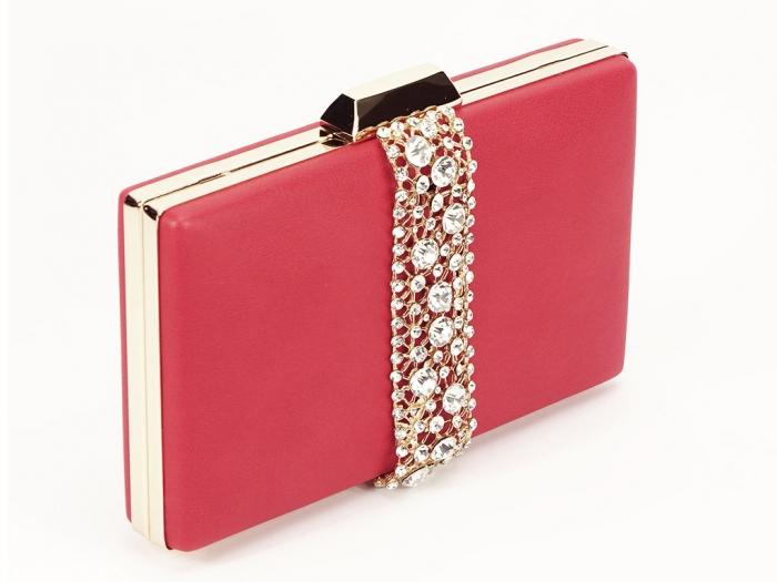Geanta clutch rosu decorat cu pietricele Olympia 0