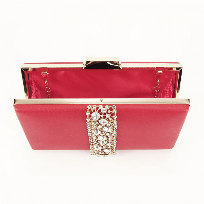 Geanta clutch rosu decorat cu pietricele Olympia 7