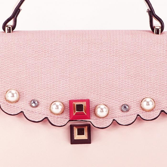 Geanta roz decorat cu perle de talie mica Sweet 4