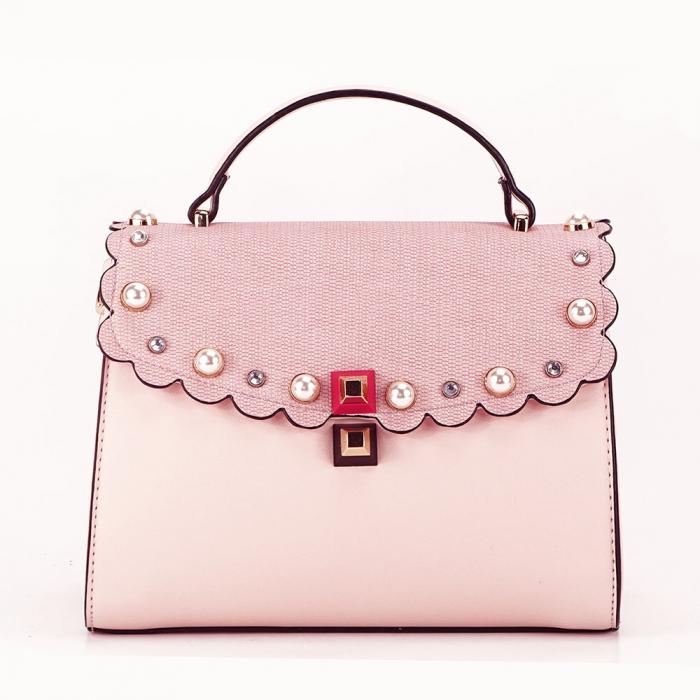 Geanta roz decorat cu perle de talie mica Sweet 0