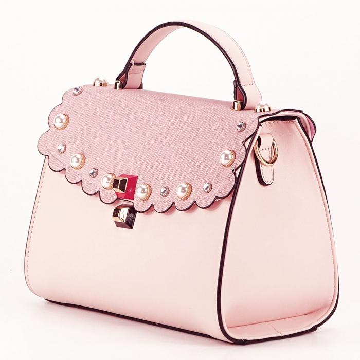 Geanta roz decorat cu perle de talie mica Sweet 1