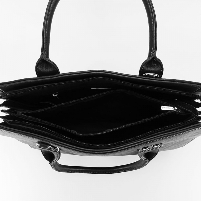 Geanta dama office neagra cu accesoriu puf Luisa 4