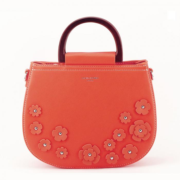 Geanta portocalie de dimesiune mica Flowers 0