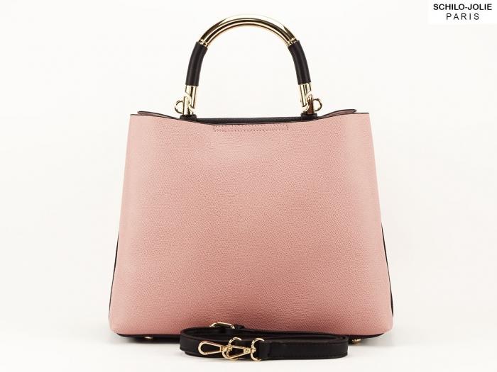 Geanta dama casual roz cu negru Alexia 4