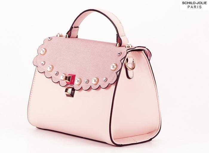 Geanta roz decorat cu perle de talie mica Sweet
