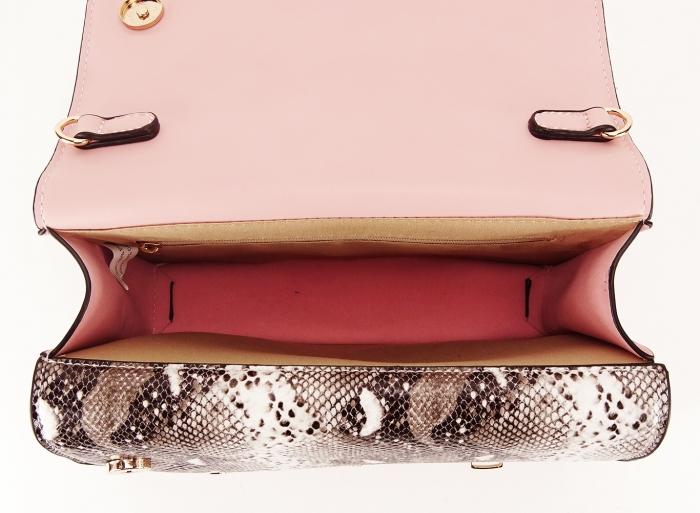 Geanta roz de talie mica cu brosa in forma de albina Honey 3