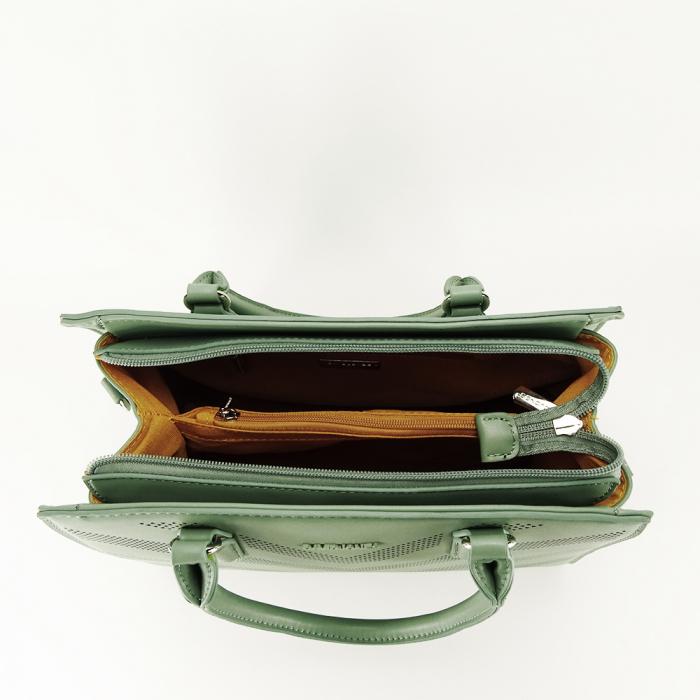 Geanta verde fistic cu aspect perforat Petra [4]