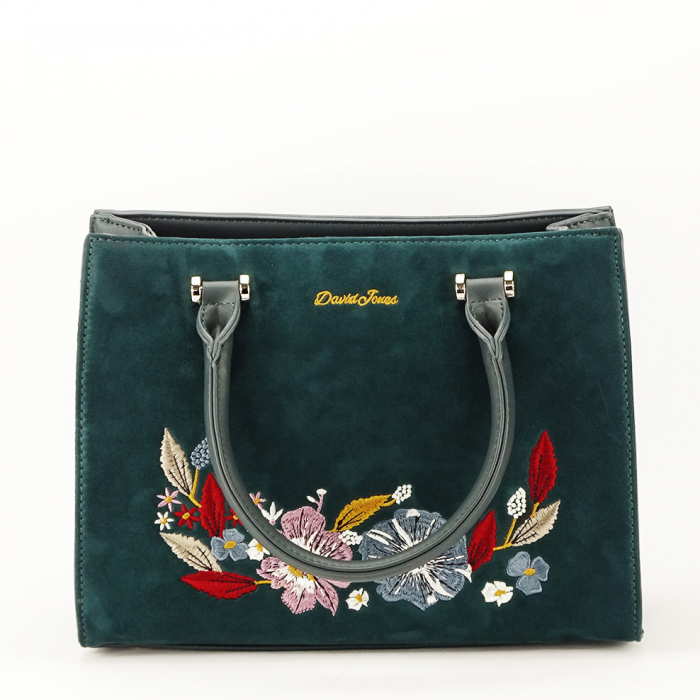 Geanta verde inchis cu broderie florala Dolly 3
