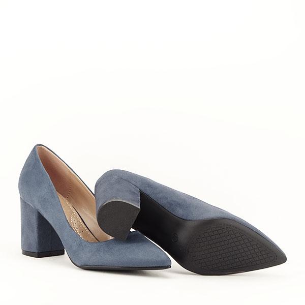 Pantofi albastri cu toc gros Adelina 7