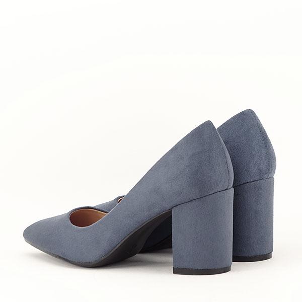 Pantofi albastri cu toc gros Adelina 3