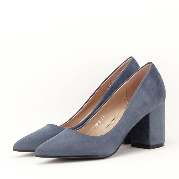 Pantofi albastri cu toc gros Adelina 1