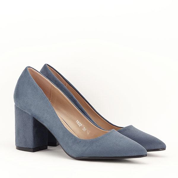 Pantofi albastri cu toc gros Adelina 2