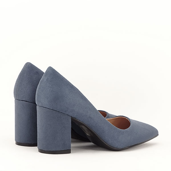 Pantofi albastri cu toc gros Adelina 4