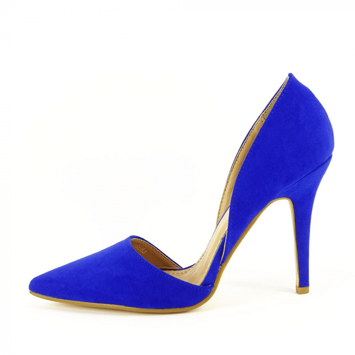 PANTOFI sTILETTO BLUE DECUPATI LATERAL ANTONIA 0