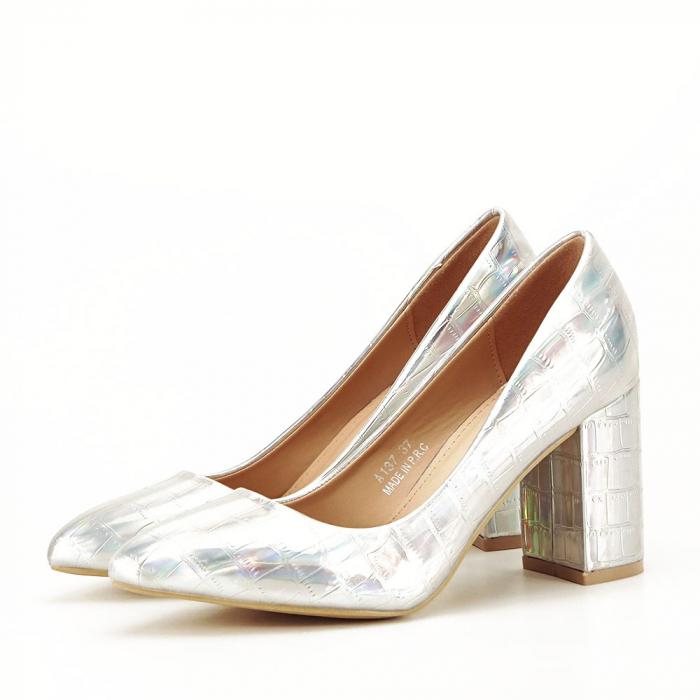 Pantofi argintii cu imprimeu reptila Fancy