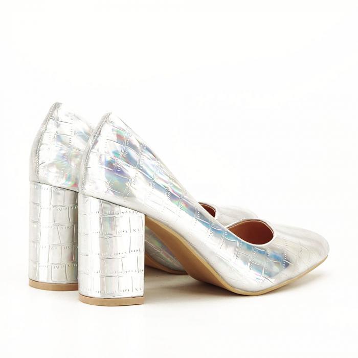 Pantofi argintii cu imprimeu reptila Fancy [5]