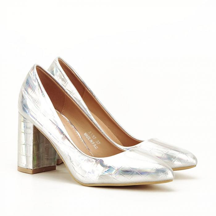 Pantofi argintii cu imprimeu reptila Fancy [1]