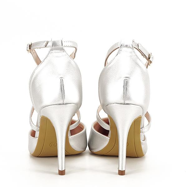 Pantofi argintii cu toc cui Zoe [5]