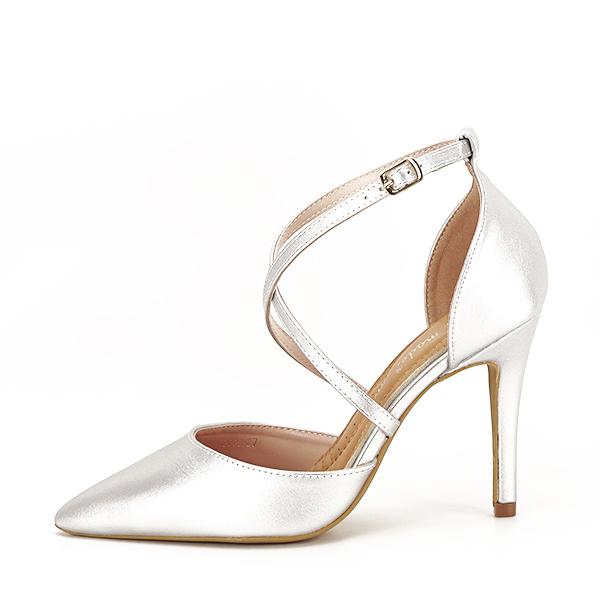 Pantofi argintii cu toc cui Zoe [1]