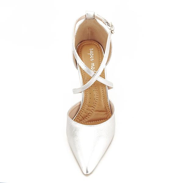 Pantofi argintii cu toc cui Zoe [6]