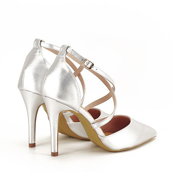 Pantofi argintii cu toc cui Zoe [4]