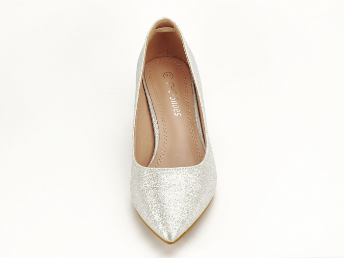 Pantofi de dama argintii cu toc comod Aura 6