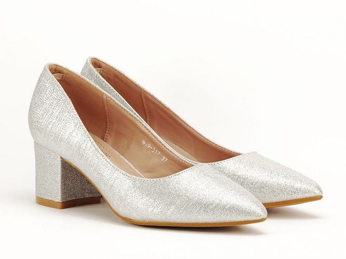 Pantofi de dama argintii cu toc comod Aura 2