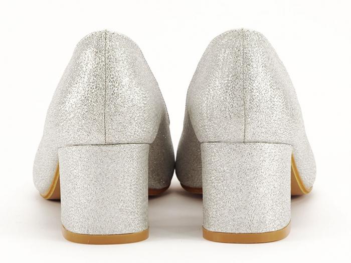 Pantofi de dama argintii cu toc comod Aura 5
