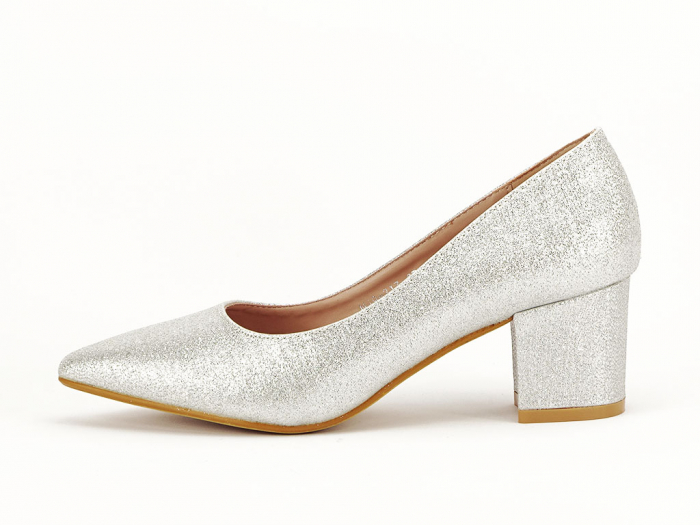 Pantofi de dama argintii cu toc comod Aura 0