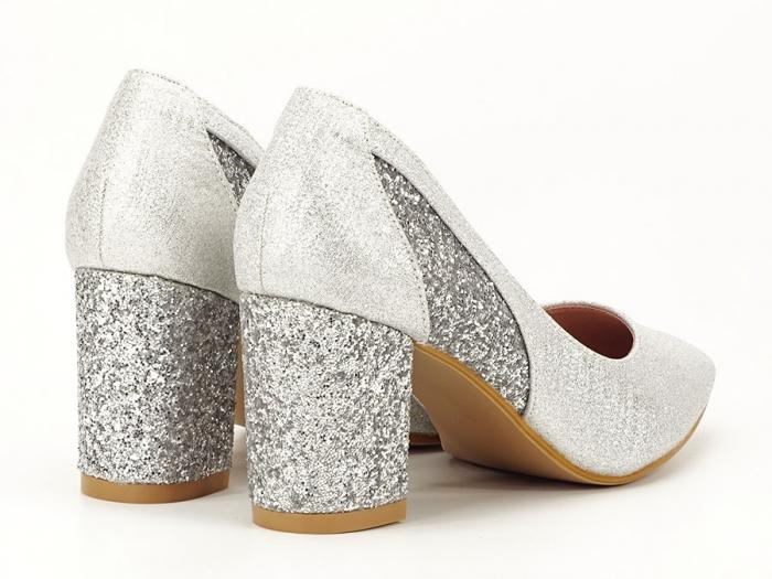 Pantofi eleganti argintii cu toc comod Liana 7