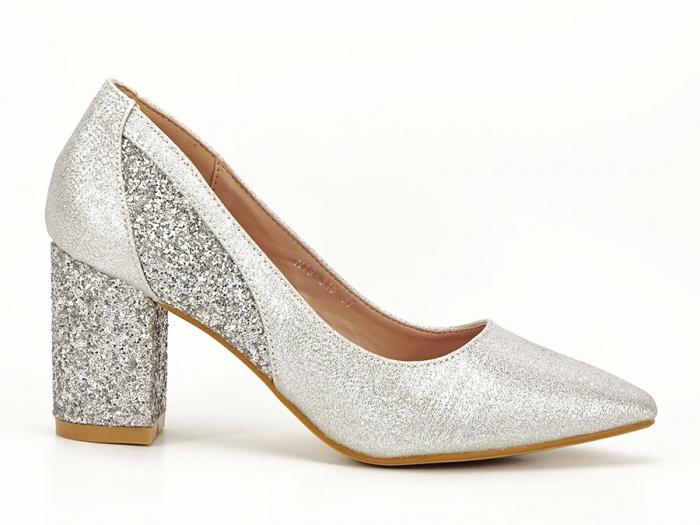 Pantofi eleganti argintii cu toc comod Liana 1