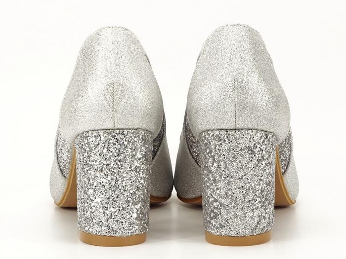 Pantofi eleganti argintii cu toc comod Liana 4