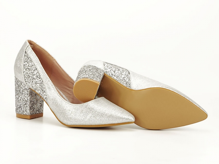 Pantofi eleganti argintii cu toc comod Liana 5