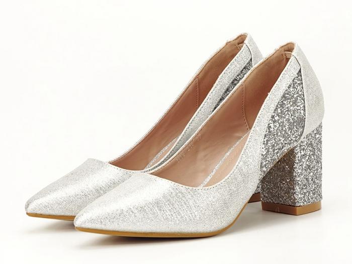 Pantofi eleganti argintii cu toc comod Liana 0