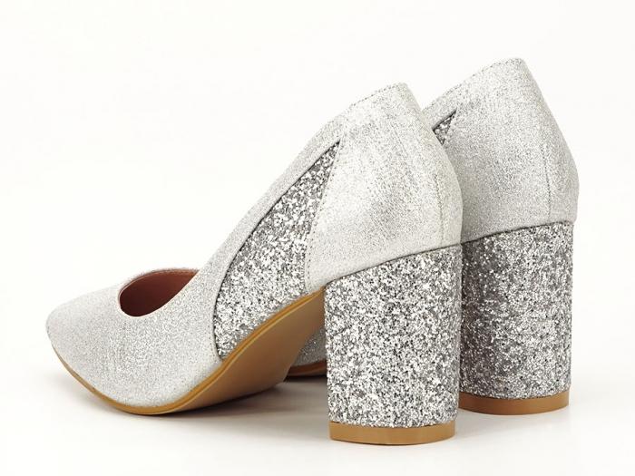Pantofi eleganti argintii cu toc comod Liana 3