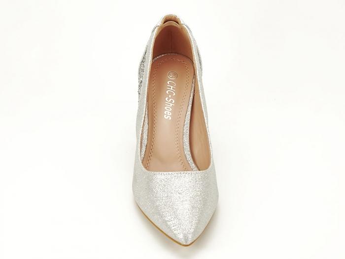 Pantofi eleganti argintii cu toc comod Liana 6
