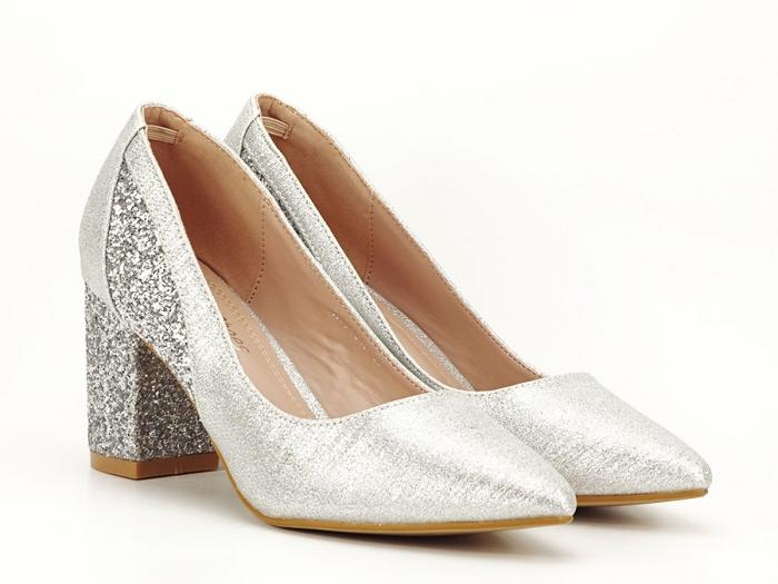 Pantofi eleganti argintii cu toc comod Liana 2