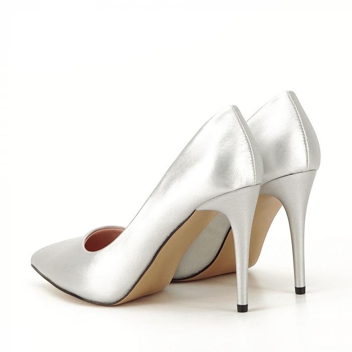 Pantofi argintii cu toc Irina [5]