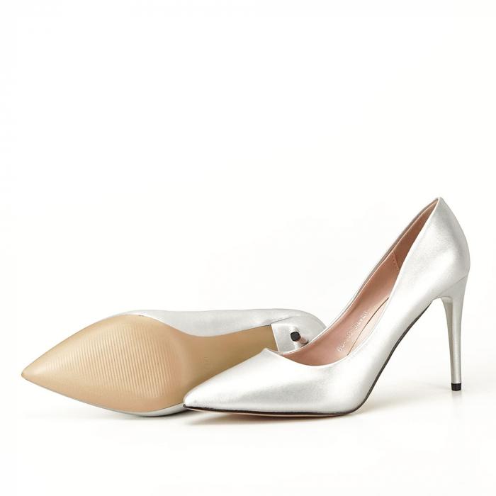 Pantofi argintii cu toc Irina [7]