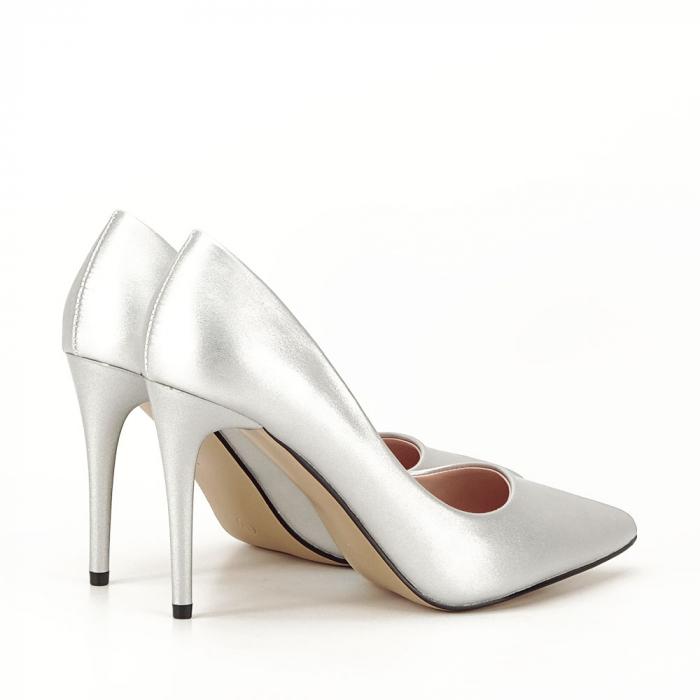 Pantofi argintii cu toc Irina [1]
