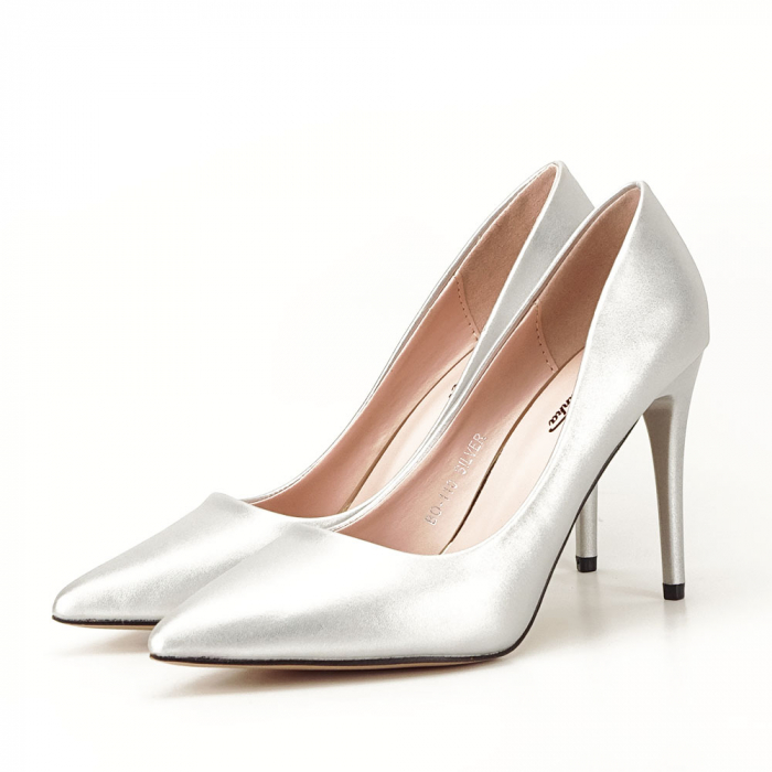Pantofi argintii cu toc Irina [6]