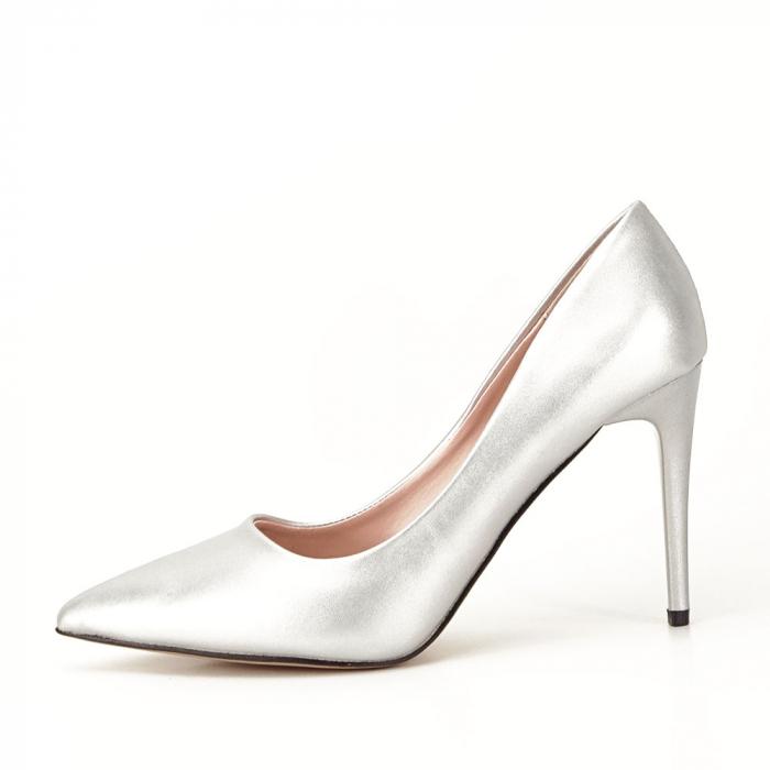 Pantofi argintii cu toc Irina [0]