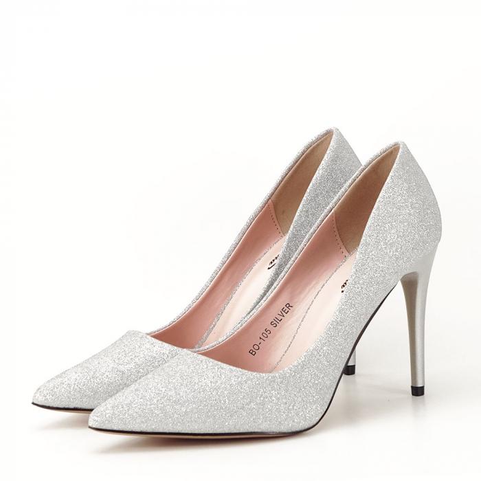 Pantofi argintii cu toc Liza 4