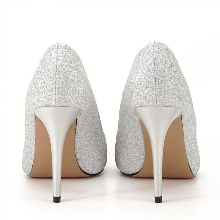Pantofi argintii cu toc Liza 3