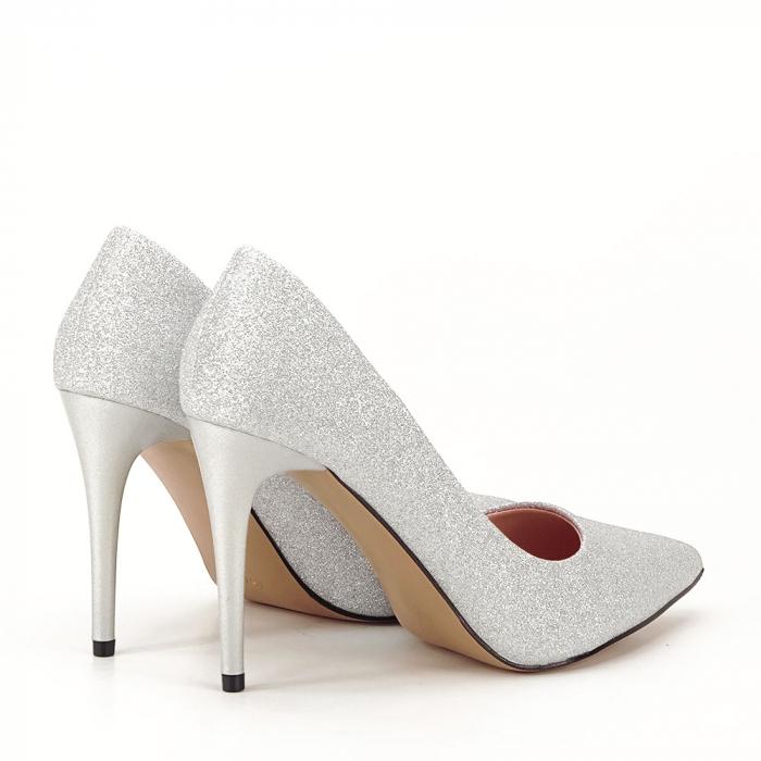 Pantofi argintii cu toc Liza 5